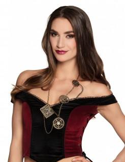 Steampunk Zahnrad Halskette für Damen goldfarben