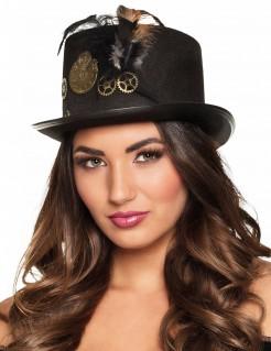 Steampunk-Hut für Damen Accessoire schwarz-bronze