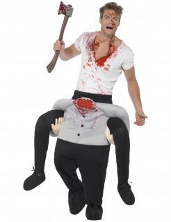 Kopfloser Mann Carry-Me-Halloweenkostüm schwarz-weiss