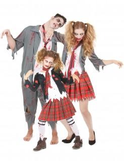 Highschool Zombies Halloween-Familienkostüm grau-rot-weiss
