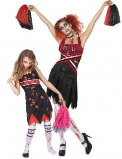 Zombie-Cheerleader Paarkostüm Halloween-Paarkostüm schwarz-rot