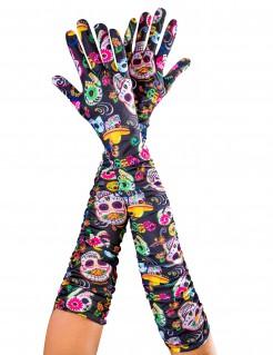 Tag der Toten-Damenhandschuhe lang bunt