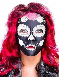 Nachtleuchtende Sugar-Skull-Maske Tag-der-Toten-Maske schwarz-weiss