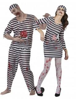 Zombie-Sträflinge Halloween-Paarkostüm schwarz-weiss-rot