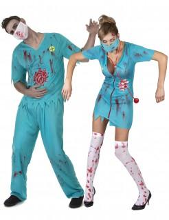 Zombieärzte Halloweenpaarkostüm blau-rot