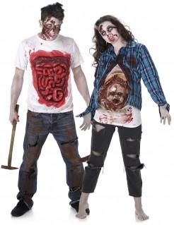 Blutige Zombies Halloween-Paarkostüm weiss-blau-rot