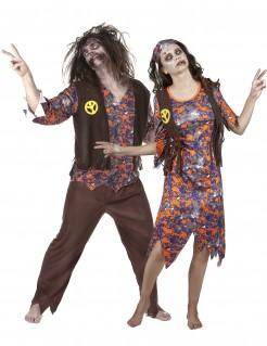 Zombie Hippie Halloween-Paarkostüm braun-bunt