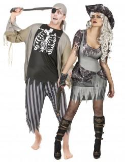 Zombiepiraten Halloween-Paarkostüm grau-schwarz