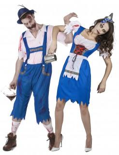 Torkelnde Bayern-Zombies Halloween-Paarkostüm blau-weiss