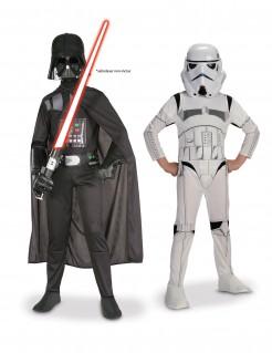 Star Wars™-Paarkostüm für Kinder Darth Vader und Stormtrooper schwarz-weiss