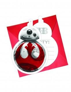 Einladungskarten mit Umschlägen Star Wars Die letzten Jedi™ 6 Stück rot-weiss-grau
