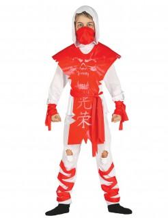 Geister-Ninjakostüm für Jungen weiß-rot