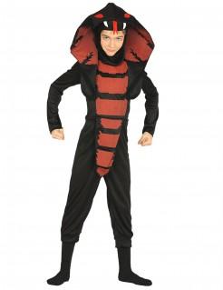 Schlangen-Kostüm für Kinder wilde Kobra schwarz-rot