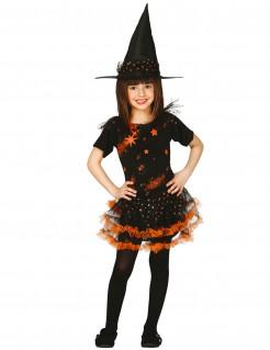 Süsses Hexenkostüm für Mädchen schwarz-orange