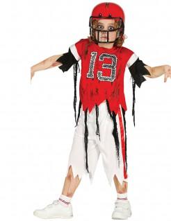 Zombie-Footballkostüm für Kinder rot-weiss-schwarz