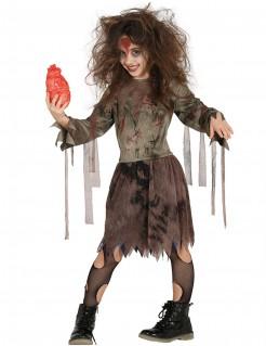 Gruseliges Zombiekostüm für Mädchen Halloween braun