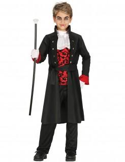 Vampir-Grafkostüm für Jungen schwarz-rot