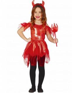 Teufelkostüm Kinderkostüm Mädchen Halloween rot