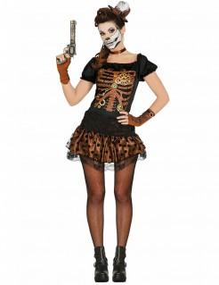Steampunk-Skelettkostüm für Damen schwarz-braun