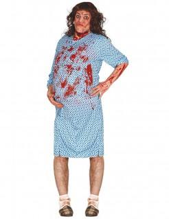Schwangerer Zombie für Erwachsene Halloweenkostüm blau-rot