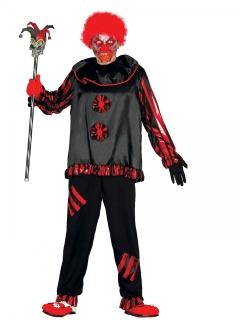 Verrücktes Horroclown-Kostüm für Erwachsene schwarz-rot