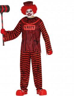 Clownkostüm Horror Halloween schwarz-rot