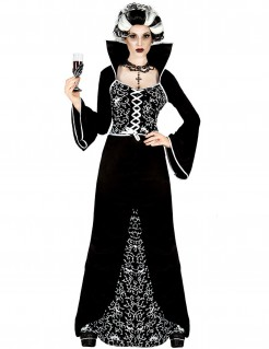 Finstere Baronin Damen-Halloweenkostüm schwarz-weiss