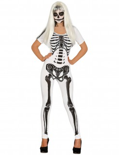 Skelett-Overall Damenkostüm weiss-schwarz
