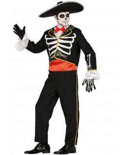 Tag-der-Toten-Kostüm Mariachi schwarz-weiss-gelb