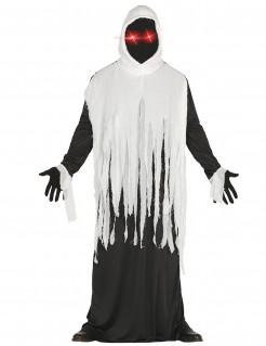 Geisterkostüm Robe schwarz-weiss mit LED