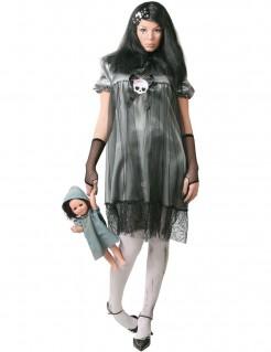 Halloween Puppenkostüm für Damen grau-schwarz