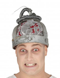 Elektrischer-Stuhl-Mütze Horror-Hut silber-rot