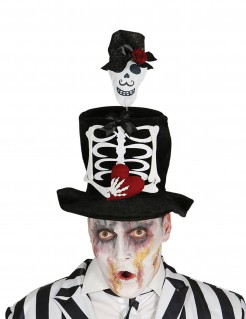 Zylinder mit Skelett für Erwachsene schwarz-weiss-rot
