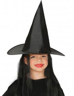 Spitzer Hexenhut mit langen Haaren für Kinder schwarz