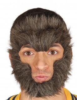 Werwolf-Maske Werwolfhaare braun