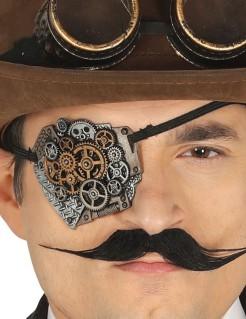Steampunk Augenklappe für erwachsene Luftpiraten silber-bronze