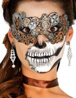 Steampunk-Augenmaske Kostüm-Accessoire silber-gold