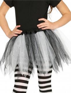 Glitzer-Tutu für Kinder weiß-schwarz