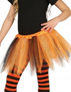 Glitzer-Tutu für Mädchen Halloween schwarz-orange