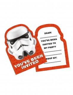 Stormtrooper™-Einladungskarten Star Wars™ 6 Stück orange-weiß