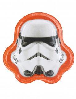 Stormtrooper Pappteller Star Wars™ 8 Stück weiss-schwarz-orange
