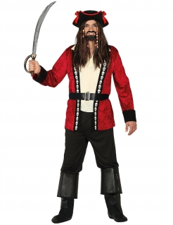 Piratenkapitäns-Kostüm für Herren schwarz-rot-weiss
