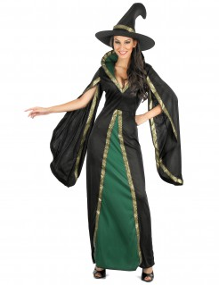 Zauberhaftes Hexenkostüm für Damen schwarz-gruen