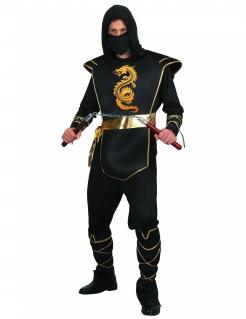 Ninja-Herrenkostüm dunkler Krieger Halloween-Kostüm schwarz-gold