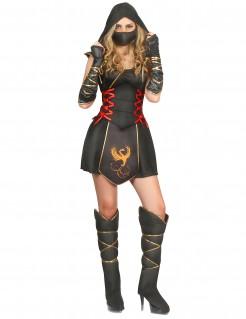 Sexy Ninja-Kostüm für Frauen schwarz-gold