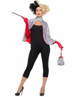 Teuflische Lady-Kostümset für Damen schwarz-weiss-rot