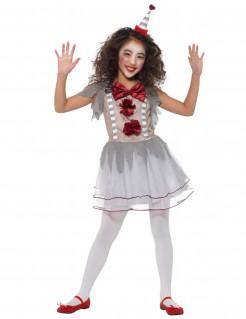 Traditionelles Clown-Kostüm für Mädchen grau-beige-rot