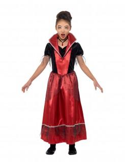 Vampirkleid für Mädchen Vampirin-Kinderkostüm rot-schwarz