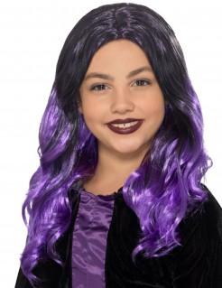 Langhaarperücke für Kinder schwarz-violett