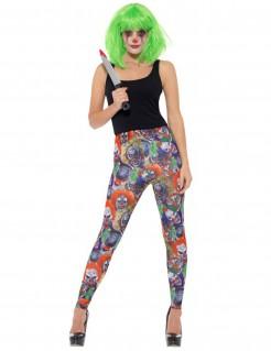 Clownleggins für Damen Halloween-Zubehör bunt